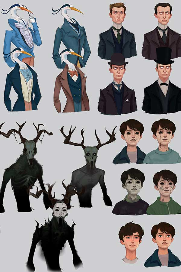 Drawings of supporting cast for Dreamwalkers